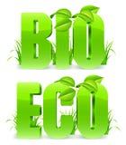 Bio en Eco-woorden. Stock Foto's