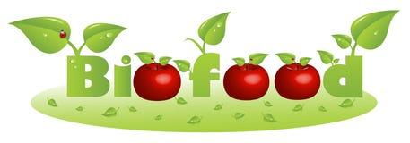 Bio encabezamiento del texto del alimento con las manzanas rojas stock de ilustración