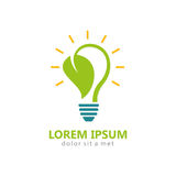 Bio energy leaf light bulb logo Stock Photos