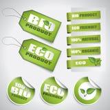 Bio escrituras de la etiqueta y etiquetas del verde Imagenes de archivo