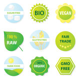 Bio et sains labels de nourriture illustration de vecteur