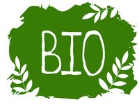 Bio- etichetta dell'alimento biologico e badg sani del prodotto di qualità Eco, 100 bio- ed icona del prodotto naturale Emblemi p illustrazione di stock