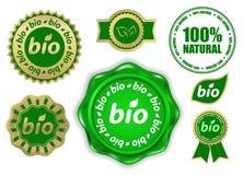 bio etiketter Arkivbild