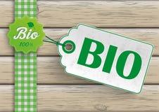 Bio etiqueta da etiqueta do preço dos alimentos ilustração do vetor