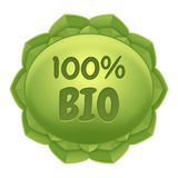 - Bio etiqueta - etiqueta natural y pura del producto natural - etiqueta de Eco Fotografía de archivo