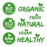 Bio etiquetas do alimento Jogo de etiquetas verdes EPS10 Imagens de Stock