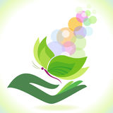 Bio- farfalla verde - salvo l'ambiente Fotografie Stock