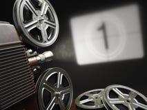 Bio-, film- eller videobegrepp Tappningprojektor med projectin Arkivfoton