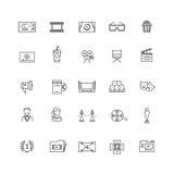 Bio film, film, linje symboler för vektor för television 3d tunn Royaltyfria Foton