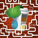 Bio filter- och vattenrör stock illustrationer