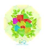 Bio fondo de las etiquetas engomadas stock de ilustración