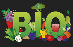 Bio food. Illustration of written bio with some fruits and vegetables Royalty Free Stock Photos