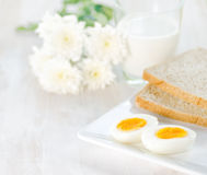 Boiled eggs, toasts and glass of milk Royalty Free Stock Images