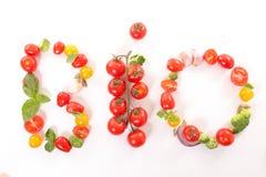 Bio food concept. Isolated on white Stock Photos