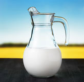 Jug of milk on meadow background Stock Photo