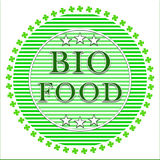 Bio food label. Green bio food label with leafs on a white background Stock Photography