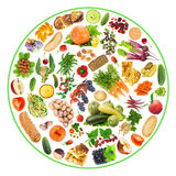 Bio food on my plate. Vegetarian bio ecological food - fruit, vegetables and bread on my plate concept. Circle isolated handmade collage Royalty Free Stock Photography