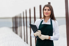 Bio food production. Female researcher technician studying with clipboard and gloves, dressed in office clothes,office shirt and apron in all withe greenhouse royalty free stock photography