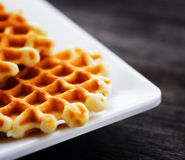 Waffles on a white square plate Royalty Free Stock Image