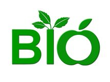 Bio foods sign. An green, artistic sign promoting bio or organic foods with leaves sprouting from the letters Royalty Free Stock Image