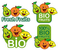 Bio Fruit Characters. Four variation of Fruit Characters win Bio and Fresh supporting Brands and Fruit Products Royalty Free Stock Photos
