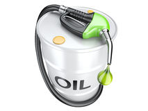 Bio fuel concept with oil barrel and gas pump nozzle. Stock Photos