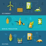 Bio Fuel Flat Banners Royalty Free Stock Images