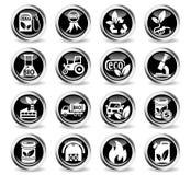 Bio fuel icon set. Bio fuel icons on stylish round chromed buttons Royalty Free Stock Image