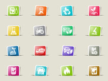 Bio fuel icon set. Bio fuel web icons on color paper bookmarks Stock Photography