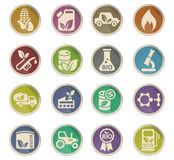 Bio fuel icon set. Bio fuel web icons on color paper labels Stock Photo