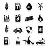 Bio Fuel Icons Black. Bio fuel eco battery and energy icons black set isolated vector illustration Stock Images