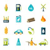 Bio Fuel Icons Set. Bio fuel solar and wind electricity industry icons set isolated vector illustration Royalty Free Stock Photography