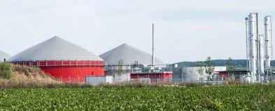 Bio fuel plant. Bio fuel plant with red tanks Royalty Free Stock Photo