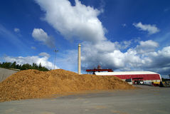 Bio fuel power plant. Bio power plant wooden fuel storage place Stock Photos
