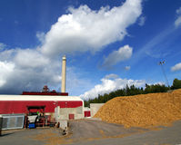 Bio fuel power plant. With storage of wooden fuel Stock Photography