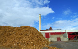 Bio fuel power plant. With storage of wooden fuel Royalty Free Stock Image