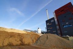 Bio fuel power plant. Smokestack sky Royalty Free Stock Image