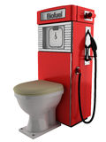 Bio fuel pump and toilet. Realistic 3d illustration of red bio fuel pump attached to toilet. Environmental concept; isolated on white background Royalty Free Stock Image