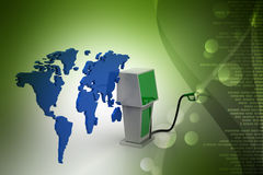 Bio fuel station with map Stock Images