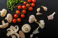 Bio garlic, spices and wild mushrooms from the home garden Royalty Free Stock Images