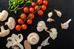 Bio garlic, spices and wild mushrooms from the home garden Royalty Free Stock Photo