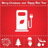 Bio gas Icon Vector. And bonus symbol for New Year - Santa Claus, Christmas Tree, Firework, Balls on deer antlers royalty free illustration