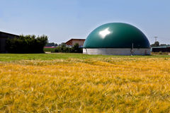 Bio gas plant in corn field Stock Images