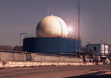 Bio gas plant in the sunset Royalty Free Stock Photography