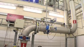 Bio gas production. Big reservoir for water treatment sludge storage and pipes