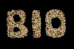 Bio geschreven met biologische graangewassen en groenten Stock Afbeeldingen
