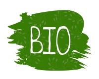 Bio gezond natuurvoedingetiket en hoog - de kentekens van het kwaliteitsproduct Eco, 100 bio en natuurlijk productpictogram Emble stock illustratie
