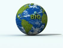 Bio globe. Write bio on green globe - 3d rendering Royalty Free Stock Photos