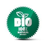 BIO grön etikett Vektornaturproduktklistermärke 100% royaltyfri illustrationer