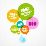 Bio grön etikettuppsättning för färgrik naturprodukt Royaltyfri Bild